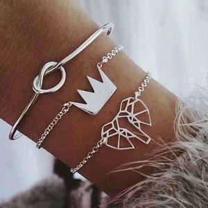 3 Elephant Crown Bracelet Set